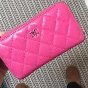 Authentic Chanel Lambskin pink wallet